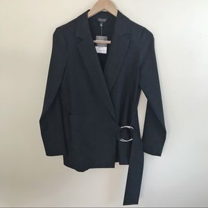 Topshop NWT Long Black Ring Career Blazer Jacket